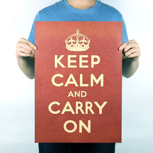 Keep Calm Inspirational Posters retro Kraft Paper Vintage Poster Office Bedroom Decoration Wall Stickers Free Shipping