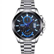 2019 New Fashion Watches Mens Steel Belt Calendar Sports Waterproof Large Dial Luminous Watch Quartz Hands Hardlex