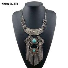 Hyperbole Antique Silver Color Howlite Stone Ethnic Flower Chain Tassel Statement Choker Necklace Jewelry for Women