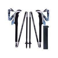 2 Pcs Pair Portable Collapsible Carbon Fiber Trekking Poles Quick Lock Compact Folding Walking Stick Tourism