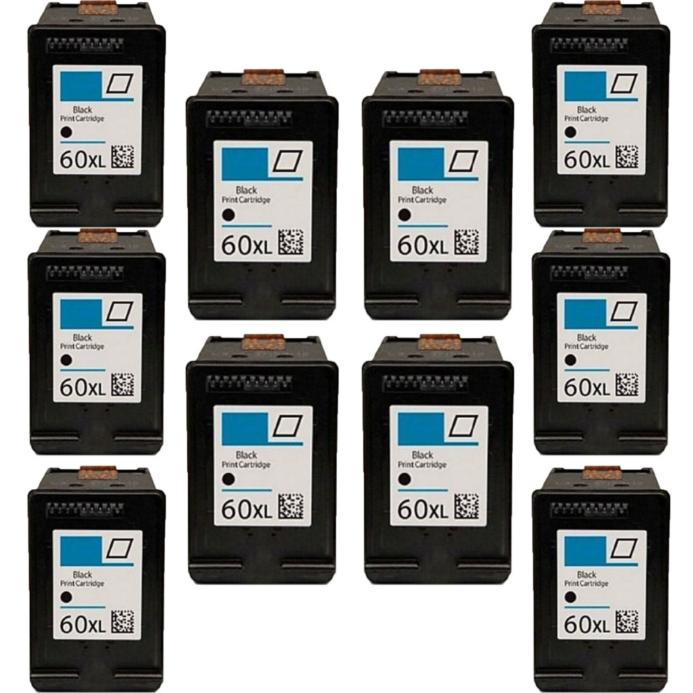 2017 10PK Compatible CC641WN (for HP 60XL) Black Ink Cartridge for HP DeskjetD1660 [New ink Listing]  free shipping compatible ink cartridge for hp 60xl bk cc641wn and for hp60xl c4635 color cc644wn c4640 c4650 c4680 printe