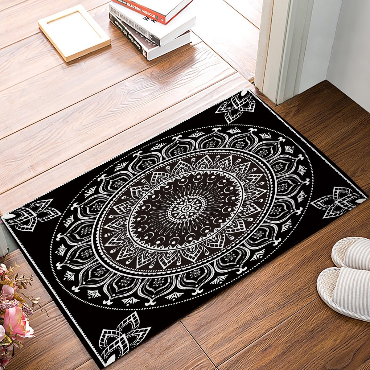 Black And White Mandala Bohemia Door Mats Kitchen Floor