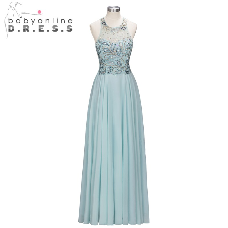 Fashion Crystal Embroidery O Neck Prom Dresses Long Prom Formal Dresses Sleeveless Chiffon Prom Dresses for Women
