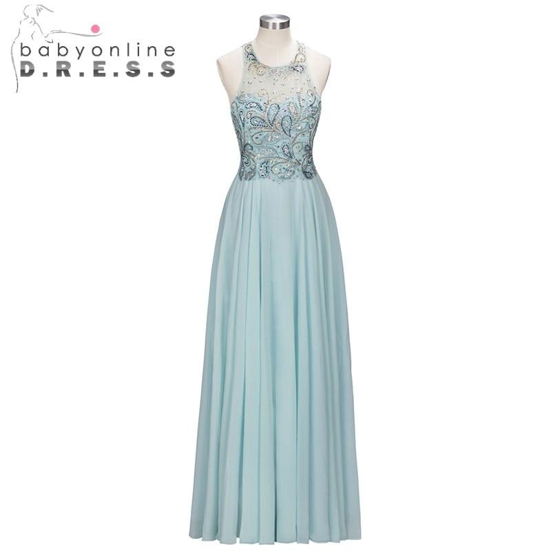 Mode cristal broderie O cou robes de bal longues robes de bal sans manches en mousseline de soie robes de bal pour les femmes