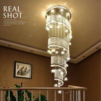 Kryształ oświetlenie oświetlenie oprawy wisiorek LED światła mody pierścień wiszące lampy luksusowa willa schody Lampen zawieszenia oprawy w Wiszące lampki od Lampy i oświetlenie na