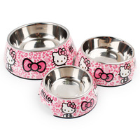 Dog Cat Bowls Cute Pink Cartoon Cat Stainless Steel Melamine Two In One Bowl Pet Products