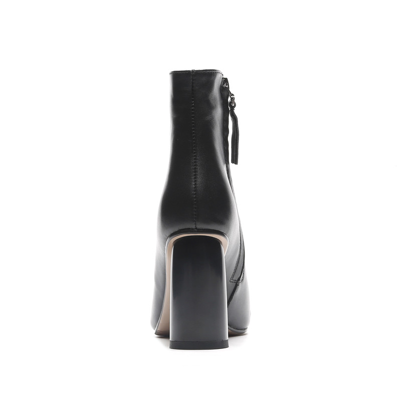 MORAZORA 2020 ホット販売アンクルブーツ女性のポインテッドトゥ本革ブーツシンプルなハイヒールドレスシューズ秋冬ブーツ  グループ上の 靴 からの アンクルブーツ の中 3