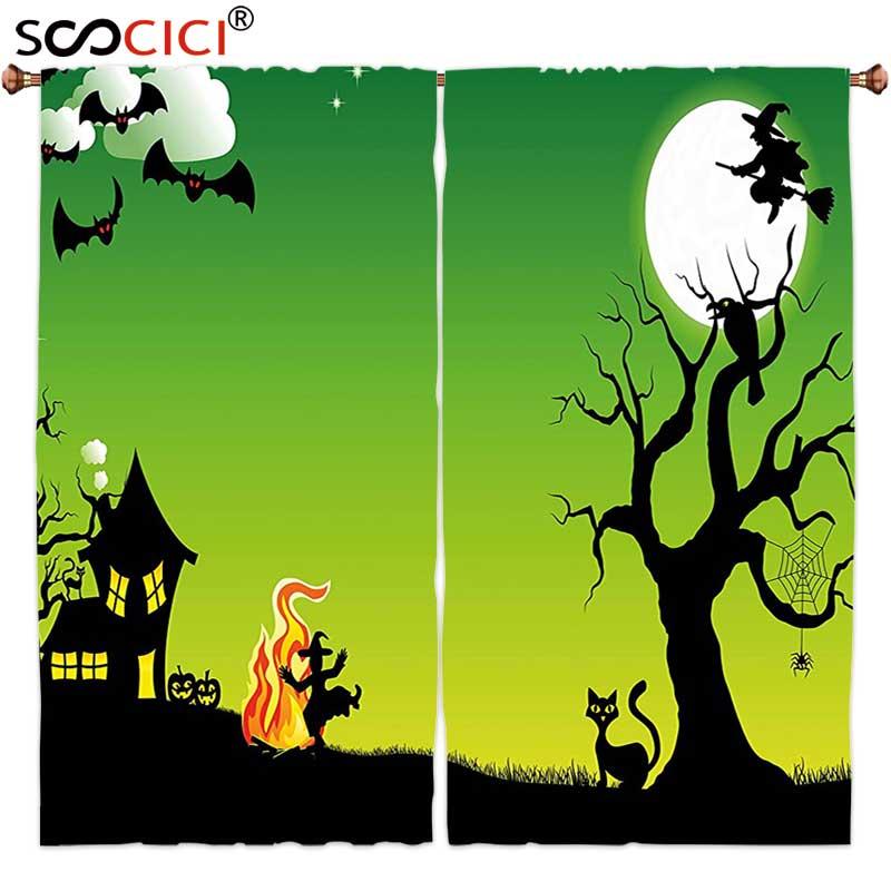 Окно Шторы лечения 2 панелей, Хэллоуин Аксессуары ведьмы Танцы вокруг костра на Хэллоуин древние западные ужас