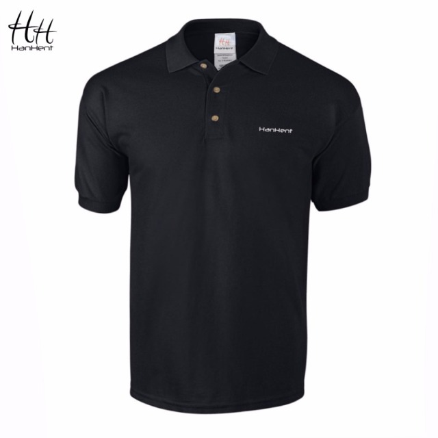 HanHent Embroidery Logo Men Polo Shirt 2017 New Casual Fit Short Sleeve 100% Cotton Business Office Mens Polo Shirts