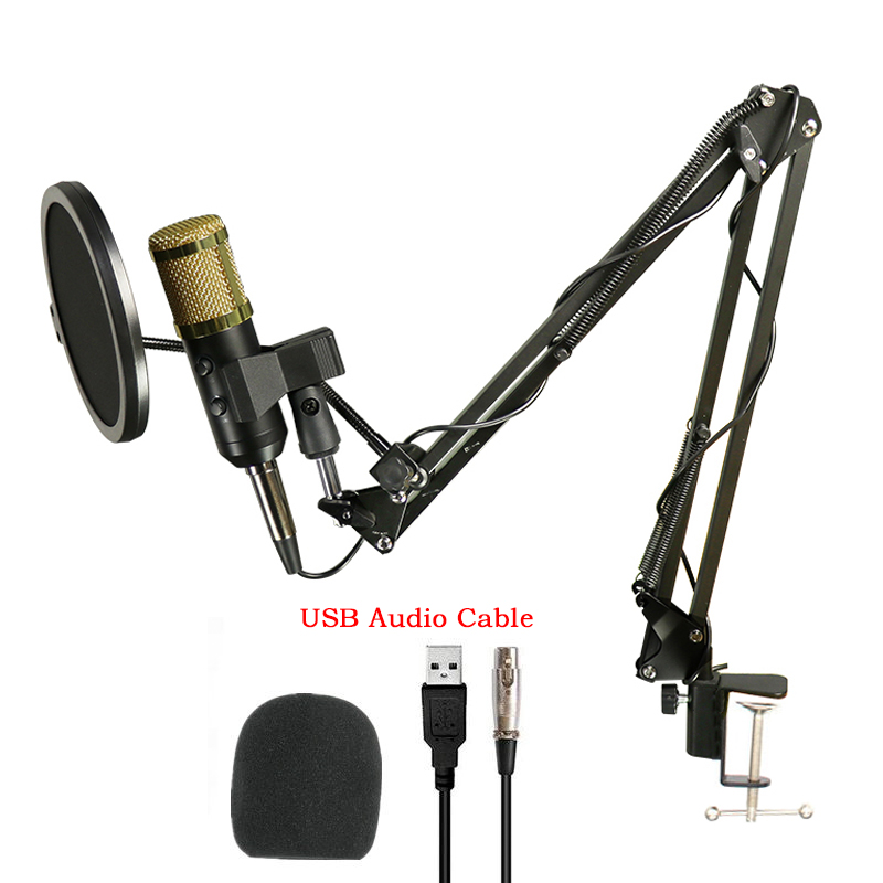 Professional Condenser Audio USB Wired BM900 Studio Microphone Vocal Recording KTV Karaoke Microphone Mic with Stand