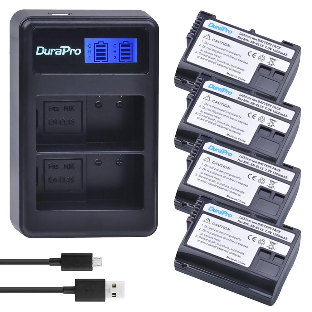 DuraPro 4Pcs EN-EL15 EN EL15 ENEL15 Battery + LCD USB Charger For Nikon D7000 D7100 D800 D800E D600 D610 D810 D7200 V1 Camera