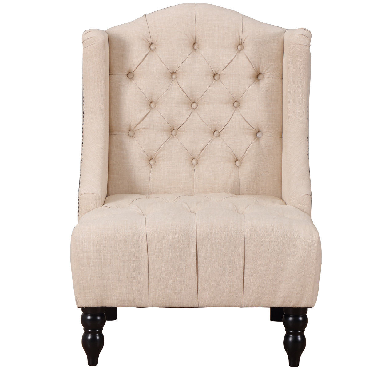 Giantex Modern Tall Wing Back Tufted Accent Armchair Fabric Vintage ...
