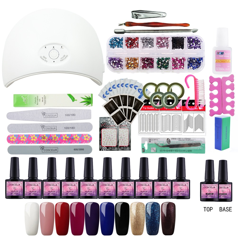 Manicure Set Nail Extension Set Set For Manicure Gel Nail Polish Nail Art Sets 36W Nail Dryer Tools For Manicure Soak Off UV Gel