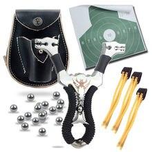 Potente 5 en 1 Hunting Slingshot Catapult + Genuine Leather Ammo Pouch Bag Case + bolsa + Bolas de Munición Tirachinas + Hoja de destino
