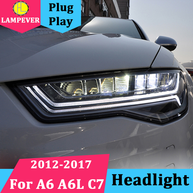 For Audi A6 A6l C7 2017 Headlight Headlights Embly Led Drl Angel Lens Double Beam Hid Xenon 2pcs Head Lamp Front