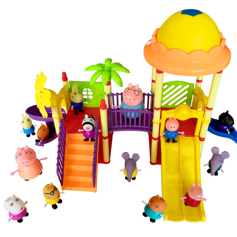 toys Series of Amusement park Toys PVC Action Figures Family Member pig Toy Baby Kid Birthday