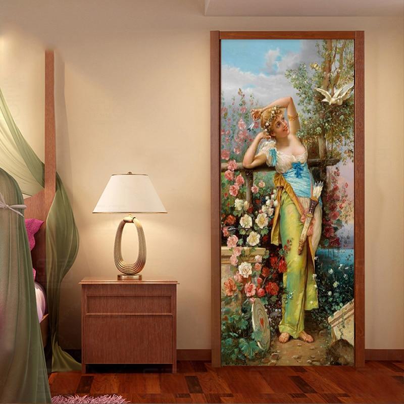 European Style Retro Figure Oil Painting Mural Wallpaper 3D Living Room Hotel Bedroom Door Sticker PVC Waterproof 3 D Home Decor