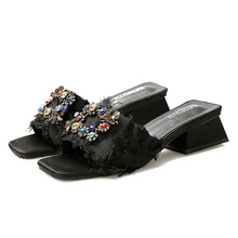 2019 New Color Rhinestone Sandals Female Summer Fashion Thick With Slippers Korean Square Slippers Women's Shoes Flip Flops зажим ekf so 157 анкерный so157