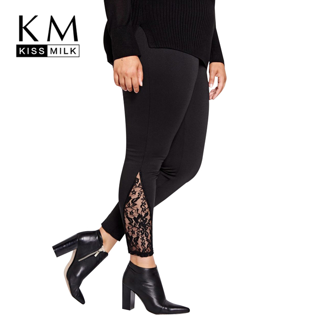 Kissmilk Plus Size New Fashion Women Clothing Basic Solid Streetwear Slim Pants Lace Inserts Big Size Leggings 3XL 4XL 5XL 6XL