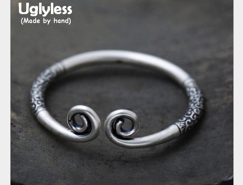 Uglyless S 990 Серебряный Fine Jewelry нейтральный конструктор Этнические Ручной Работы изогнутые открытие браслеты выгравированы Тотем шаблоны унис