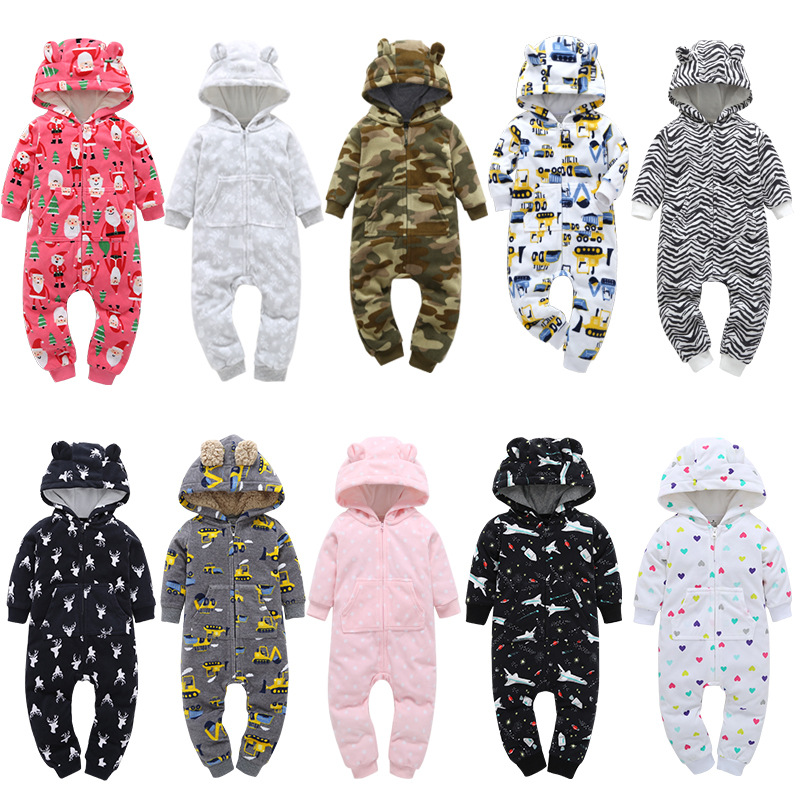 Baby   rompers   Cartoon Animal boys girls clothes Children coverall Jumpsuits pajamas warm winter new born baby Christmas costumes