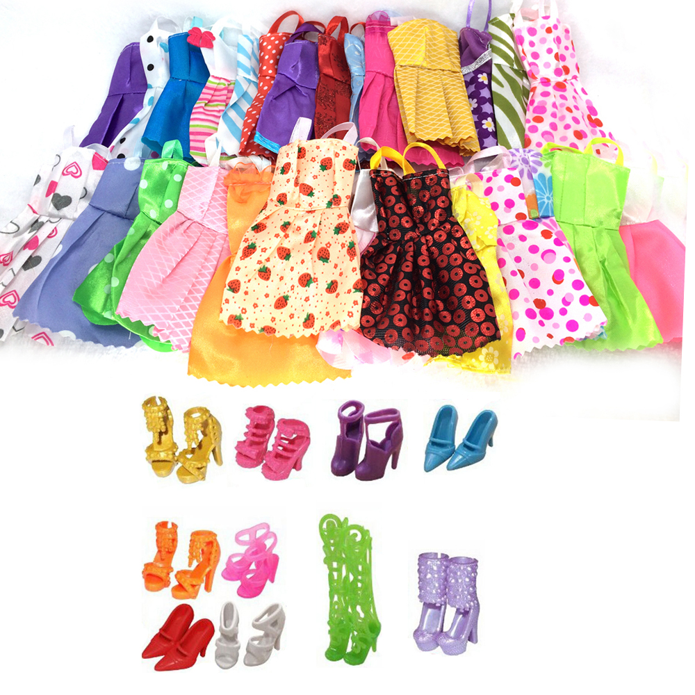 NK 20 Items/Lot=10 Pcs Mix Sorts Beautiful Party Clothes Fashion Dress +10 Fashion Doll Shoes For Barbie Doll Best Gift Toys random 12 pcs mixed sorts barbie doll fashion clothes beautiful handmade doll party dress for barbie dolls girl gift kid s toy