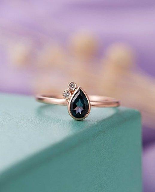 09eddd46453 MYRAY Londres Bleu Topaze Bague de Fiançailles Poire Forme Solide 14 k Or  Rose Diamant Femmes