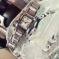 2016 Из Нержавеющей Стали Часы Лучший Бренд Класса Люкс Простой Мода Площади Набора Часы Для Женщин Повседневная Кварцевые Часы Часы relojes
