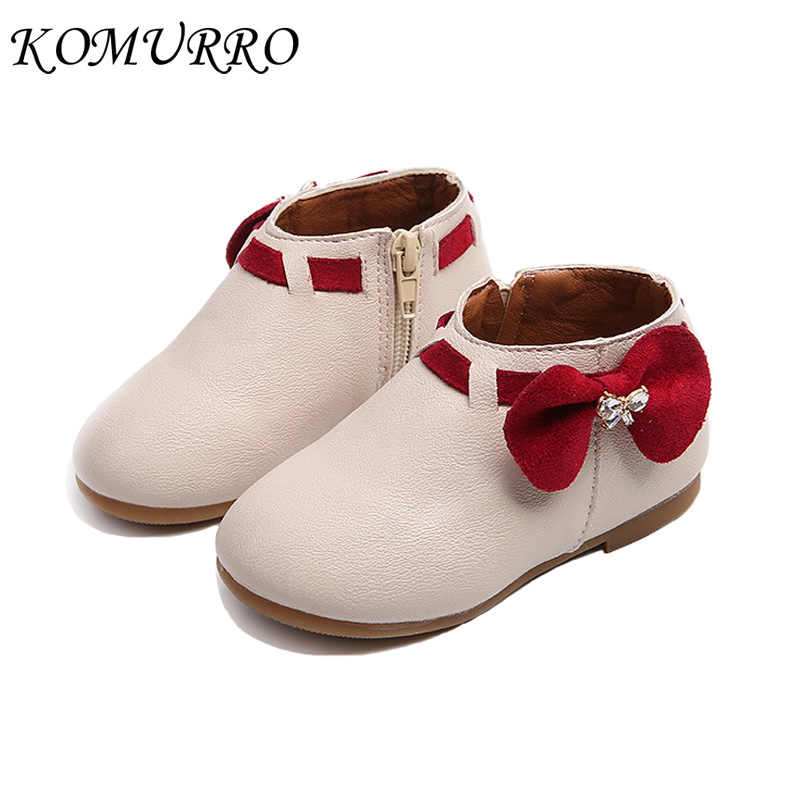 Children Girls Boots Kids Shoes 2018 Autumn Princess Bowknot Pink Shoes Girls Round Toe Zip Flat With Kids Boots For Girl Shoes