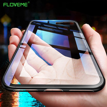FLOVEME Tempered Glass Case For iPhone 7 XR XS Max 6S Case For iPhone 6 6s 7 8 Plus XS X Protective Phone Cover Coque Capinhas