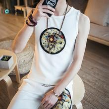 LOLDEAL Summer New Dragon Pattern Mens Sleeveless Vest Shorts Suit Chinese Cotton Five Pants Men
