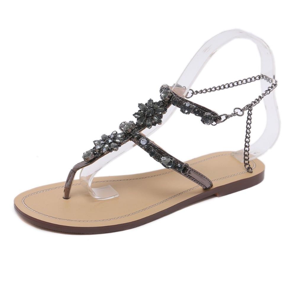 HTB1YDdBq1uSBuNjSsziq6zq8pXak 6 Color Woman Sandals Women Shoes Rhinestones Chains Thong Gladiator Flat Sandals Crystal Chaussure Plus Size 46 tenis feminino