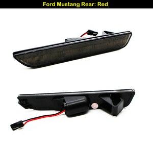 Image 2 - IJDM dla samochodów Mustang LED bursztynowe/czerwone pełne boczne światła sygnalizacyjne dla 2010 2014 Ford Mustang przednie i tylne lampy LED sidemarker 12V