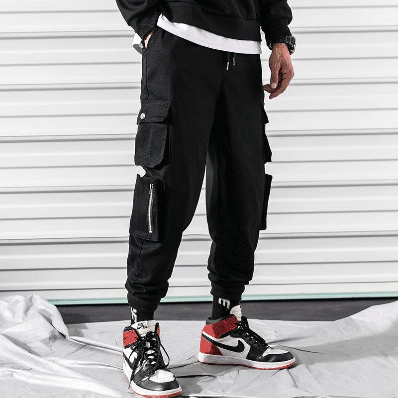 Summer Side Zipper Pocket Men Hip Hop Pants Trousers Sweatpants Streetwear Men Joggers Track Casual Cargo Pants Military Style