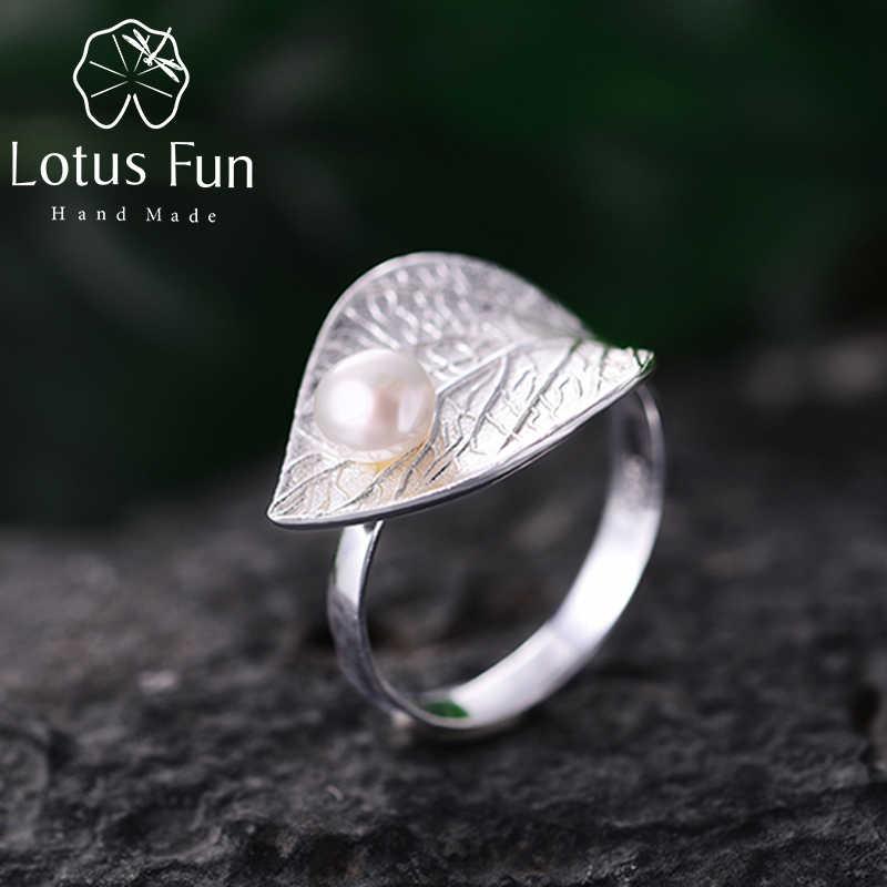 Lotus สนุก 100% จริง 925 เงินสเตอร์ลิงไข่มุกธรรมชาติ Handmade Designer Fine เครื่องประดับแหวนเปิด Leaf แหวน