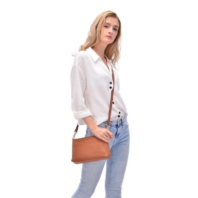 AMELIE GALANTI Luxury Leather Womens Bags Mini Crossbody Bags for Woman Handbag Cellphone Soft Solid Lady Bag Zipper Pockets Shoulder Bags
