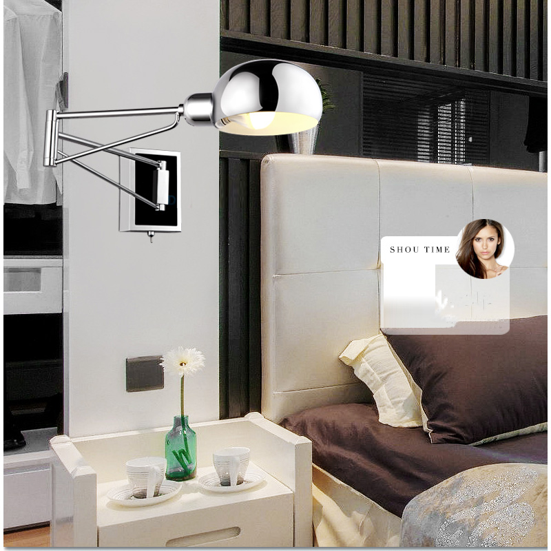 . US  55 25 15  OFF Chrome Wall Sconce Bedside wall fixtures Lighting for  bedroom modern Swing Arm wall lamp Reading Lights Mirror E14 Led  Arandela in