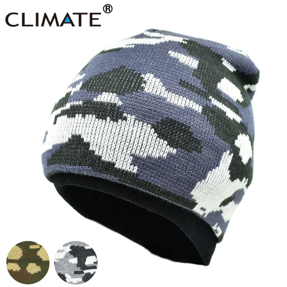 CLIMATE Men Camo Beanie Camouflage Winter Hat Man Cap Army Warm Beanie Knitted Hat Hunting Fishing Outdoor Sport Knitted Hat Cap beanie