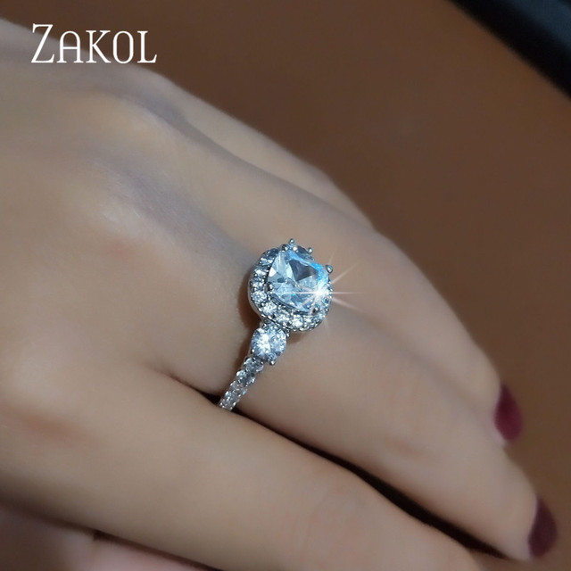 ZAKOL Exquisite Bijoux Fashion Square Crystal Bridal Wedding & Engagement Ring Made With Cubic Zirconia Jewelry FSRP2040