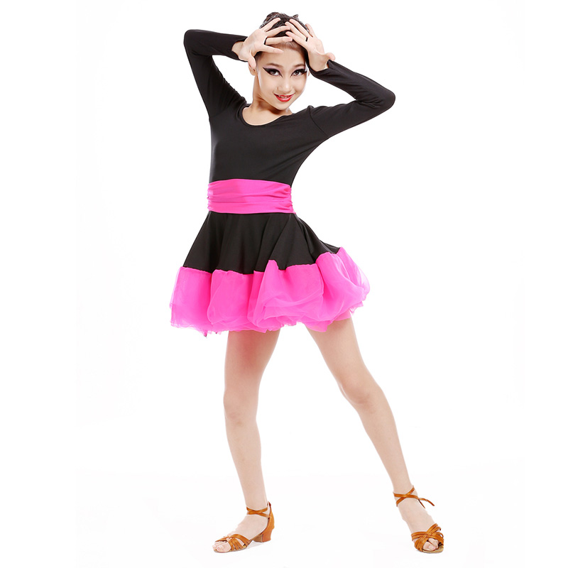 Chic Girls Latin Dance Dress Comfy Child Dancing Clothes Ventilate Stage Costume Elegant Performance Costume Dresses for Girls european and american girls latin dance jazz dance professional dance costume stage performance apparel suit