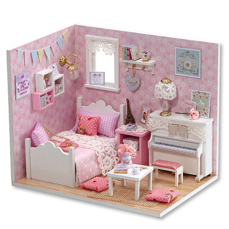 DIY Miniature Doll House Assemble Wooden Princess Dollhouse Furniture Kit Handmade 3D Pink Doll Houses Toy for Girl Xmas Gifts shelf