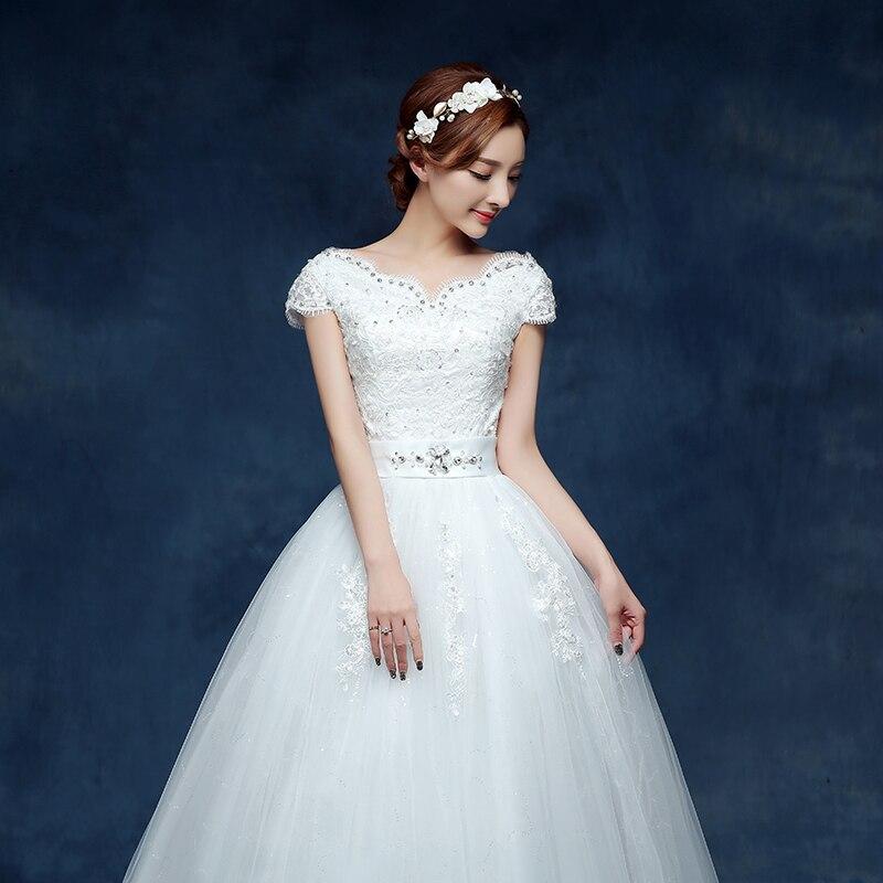 2017 New Style V Neck Short Sleeve Lace Up White Waist Crystal Decoration  Bling Wedding Dress vestidos de noivas Custom Made T17-in Wedding Dresses  from ... 09d355d0a747