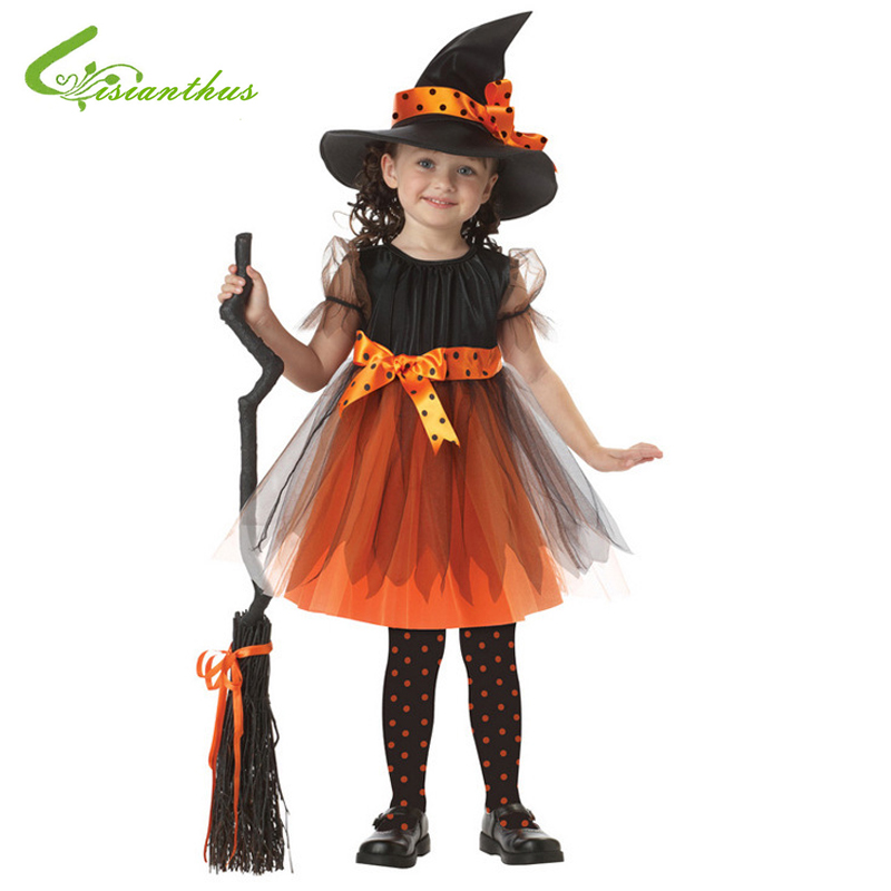 Girls Halloween Costume Little Witch Dress & Hat Set Cosplay Stage Wear Clothing Kids Children Halloween Party Clothes Free Ship girls halloween costumes barber cosplay clothing hairdresser stage wear clothes children kids halloween party free drop shipping