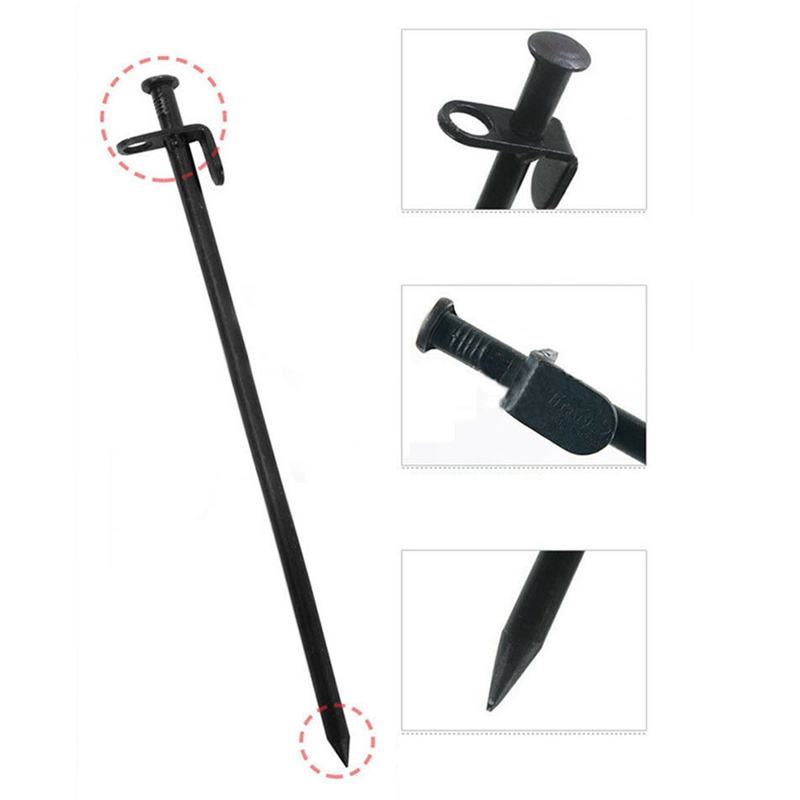 Image 4 - 10 Pcs Heavy Duty Black Steel Metal Tent Nail Camping Stakes Pegs Ground NailTent Accessories   -