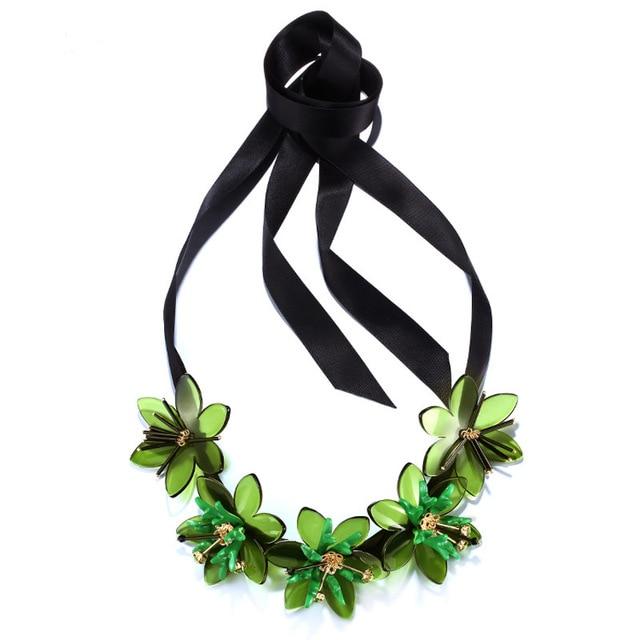 Colar de moda Para As Mulheres Grandes Colares de Flores Verde 2015 Tiras de Fita Colar Anniversary Party Colares JEW01177