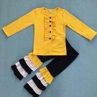 Neue Ankunft Winter Kinder Outfits Baumwolle Gelb Mit Knopf Kleinkind Boutique Rüschen Hosen Kinder Kleidung Sets F070