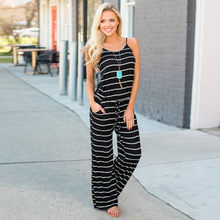 1720665ac085 Spaghetti Strap Striped Rompers Women Jumpsuit Strapless O-neck Sleeveless  Loose Jumpsuit 2018 Summer Casual Army Green Jumpsuit