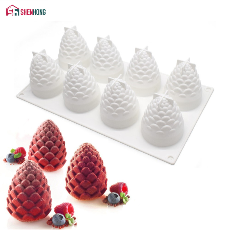 SHENHONG Nuts Pine DIY Cake Mold Silicone Mousse Mold Baking For Pudding Chocolate Pies Brownie Dessert Kitchen Bakeware