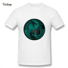 Retro Teal Blue And Black Yin Yang Dragons T-shirt For Man New Arrival Unique Design For Male O-neck Camiseta недорого