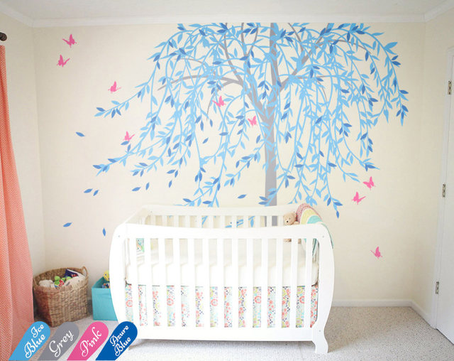 240cm Tall Large Willow Tree Decals Nursery Wall Stickers Erfly Art Living Room Decor